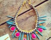 Hand painted rhinestones necklace statement bib neon pink yellow magnasite spikes turquoise orange suede