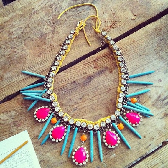 Hand painted rhinestones necklace statement bib neon pink yellow magnasite spikes turquoise orange suede