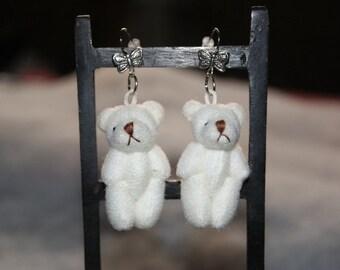 """Earrings TEDDY BEAR in white """"552"""""""