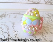 Easter/spring/pastel polymer clay egg ring FREE SHIPPING