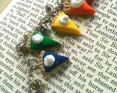polymer clay rainbow pie charm bracelet