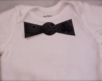 No Sew Iron-on black floral pattern baby bow tie applique