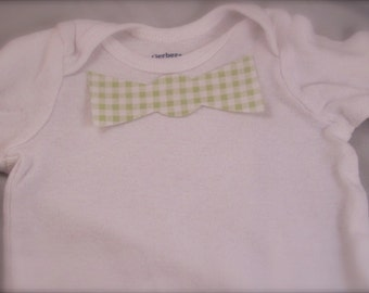 No Sew Iron-on light green and white gingham baby bow tie applique