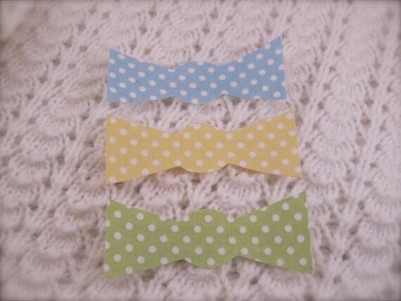 No Sew Iron-on set of three pastel polka dot baby bow tie appliques