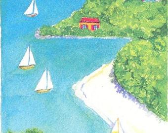 Sandy Cove, Village Hillside Prints