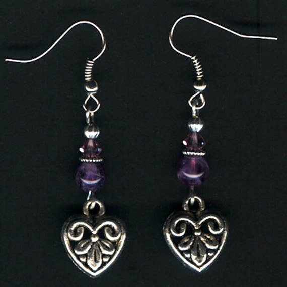 Embossed Pewter Hearts and Amethyst Silver Earrings.