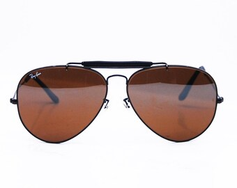 Vintage Ray Ban Driving Black BROWN Lens 58 mm Sunglasses