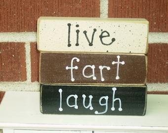 LIVE FART LAUGH stackable blocks