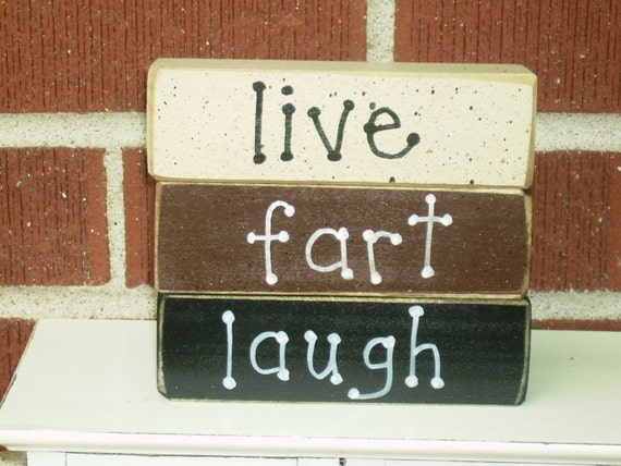 Items Similar To LIVE FART LAUGH Stackable Blocks On Etsy