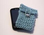 Crochet Phone Cover - Aqua Blue with Elephant button