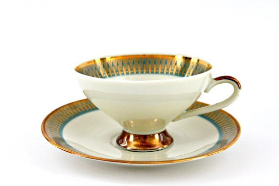 vintage tea cup and saucer,mother's day gift, gold & turquoise, 1970s Bavarian bone china, perfect condition