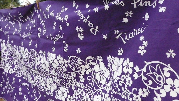 """Gorgeous Hawaiian Fabric Vintage Cotton, 5 yards plus 22"""" """" by 39"""" PURPLE, white hibiscus flowers Ready for Summer"""