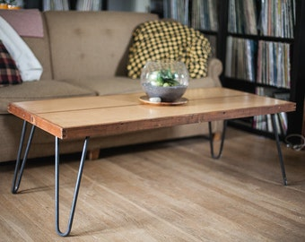 reclaimed door coffee table on metal hairpin legs.