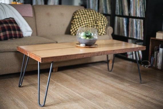 reclaimed door coffee table on metal hairpin legs. - Door Coffee Table On  Metal Hairpin - Hairpin Coffee Table Legs IDI Design