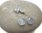 Natural Blue Chalcedony and AB Rhinestone Earrings ... Something Blue For Any Time