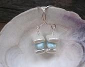 Larimar and Freshwater Square Pearl Sterling Silver Earrings ... Something Blue Bridal Earrings Summertime Dangle