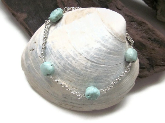 Rare Persian Turquoise Coin Nugget Sterling Silver Bracelet ... Beautiful Pastels