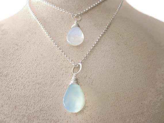 Rainbow Moonstone and Peruvian Blue Chalcedony Sterling Silver Double Chain Nekclace ...  Soul Mates