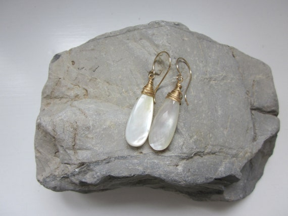 White Topaz MOP Mother of Pearl Doublet Elongated Dangle Briolettes Gold Filled Earrings - 'Capture the Moon'