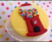 Yellow & Red Gumball Machine Cupcake Topper