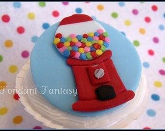 Blue & Red Gumball Machine Cupcake Topper