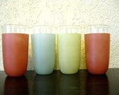 vintage mod frosted glasses in retro mango, mint, and yellow 1950s : set of 4