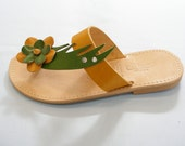 Green Wave Leather Sandals