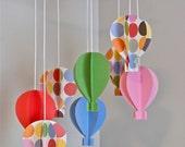 Girls 3D Paper Hot Air Balloon Mobile (Polka Dots)