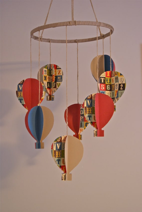 Alphabet 3d Paper Hot Air Balloon Mobile By Trailofivy On Etsy