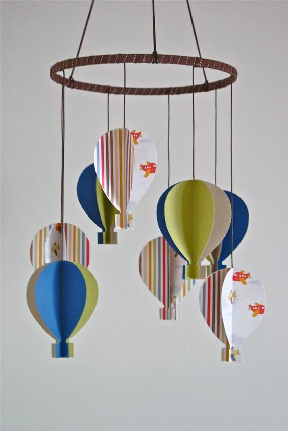 Boys 3D 'Blue/Green Aeroplane Paper' Hot Air Balloon Mobile