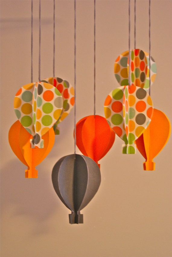 Unisex 3d Paper Hot Air Balloon Mobile Polka Dots By