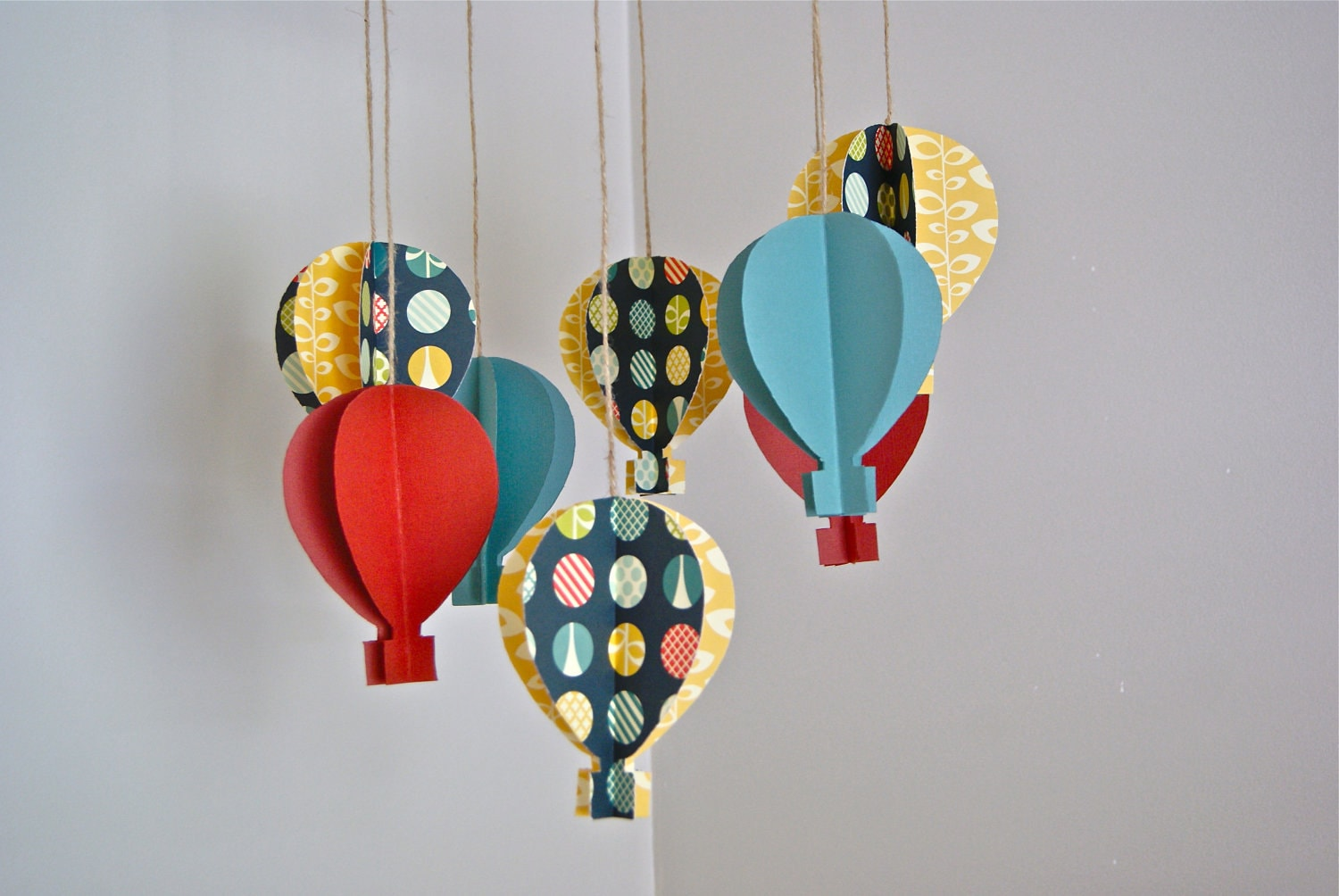 3d Paper Hot Air Balloon Mobile By Trailofivy On Etsy