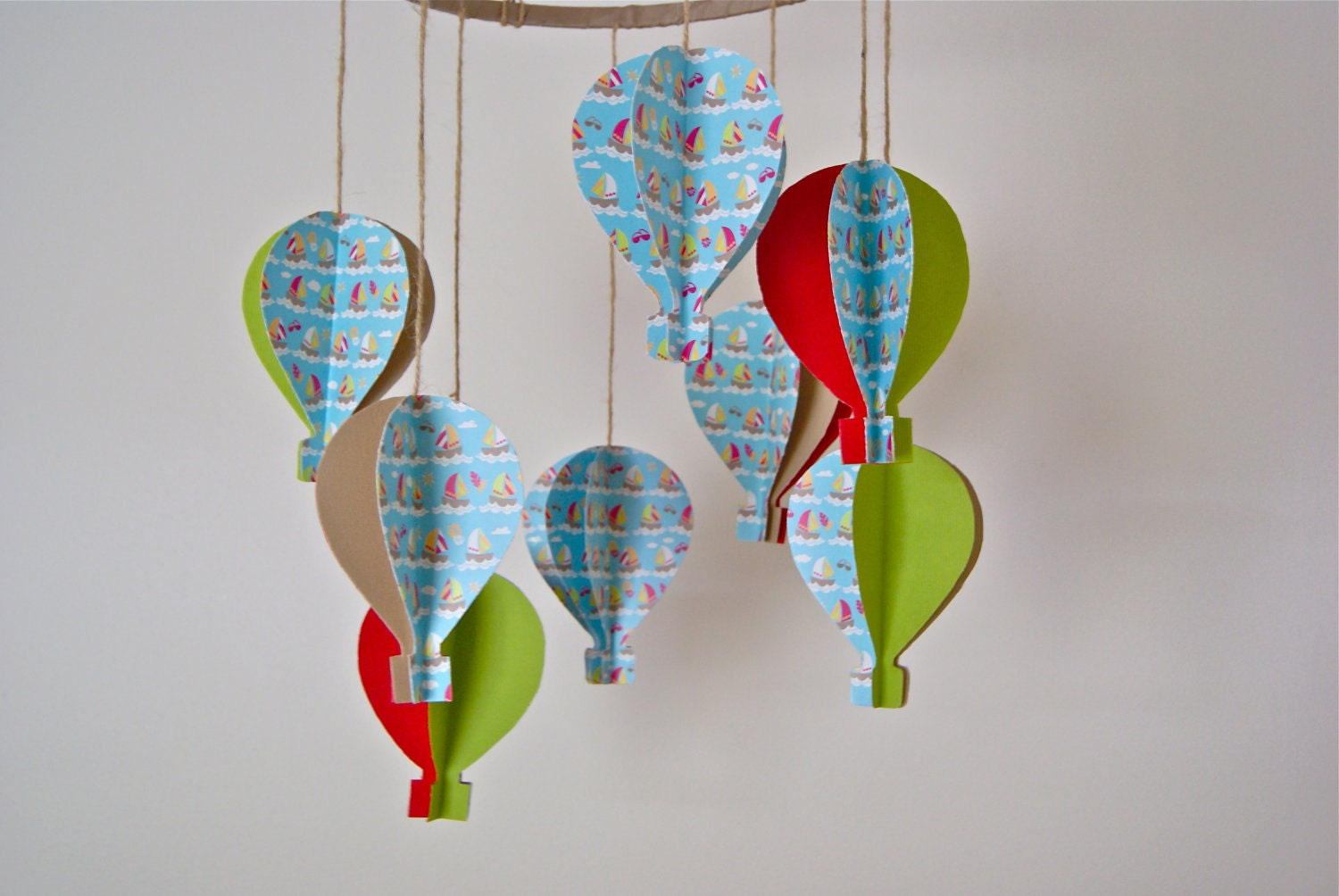 3d 39 Boat Print 39 Paper Hot Air Balloon Mobile By Trailofivy