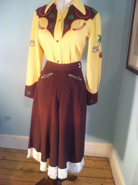 Vintage 50s Brown Gabardine Western Split Skirt Culottes