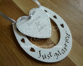 Personalised Just Married Wedding Horse Shoe Gift