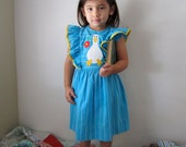 80's Girls Blue Duck Dress, 4T 5T