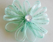 Flower hair clip: Mint green and silver- Great for flower girl dress