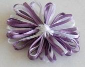 Ribbon flower hair clip: Dark lilac and white- Great for Flower Girl