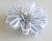 Flower Hair Clip: Silver and White- Cute accessory for Wedding or Flower Girl