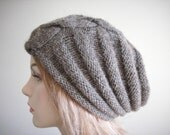 Slouchy Beanie Slouch Hats Oversized Baggy Cabled  Brown Heather  Hand Made Knit