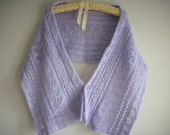 Womens Scarf  Winter Spring Accessories Lace Wool Angora Ladies Handmade Knit Lavender Color