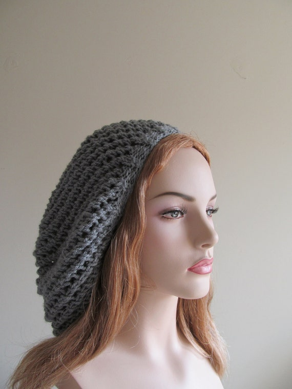 Oversized Beret Knitting Pattern : Mesh Lace Hand Knit Slouchy Hats Oversized Berets by Lacywork
