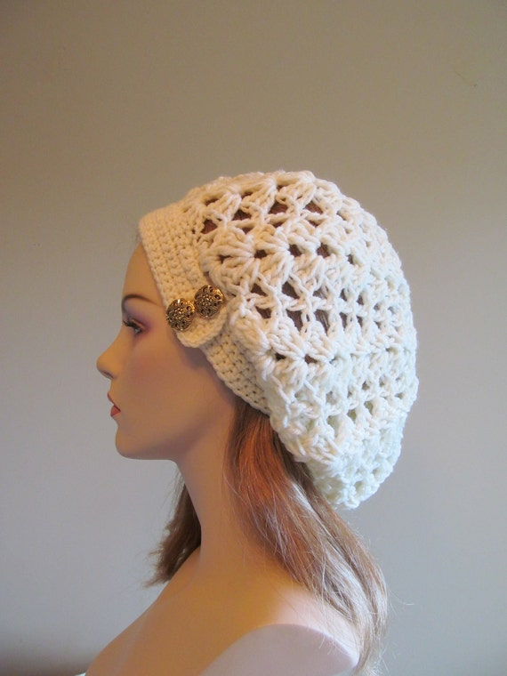 Free Crochet Pattern For Lace Beanie : Slouchy Spring Beret Beanie Womens Mesh Lace Crochet Slouchy
