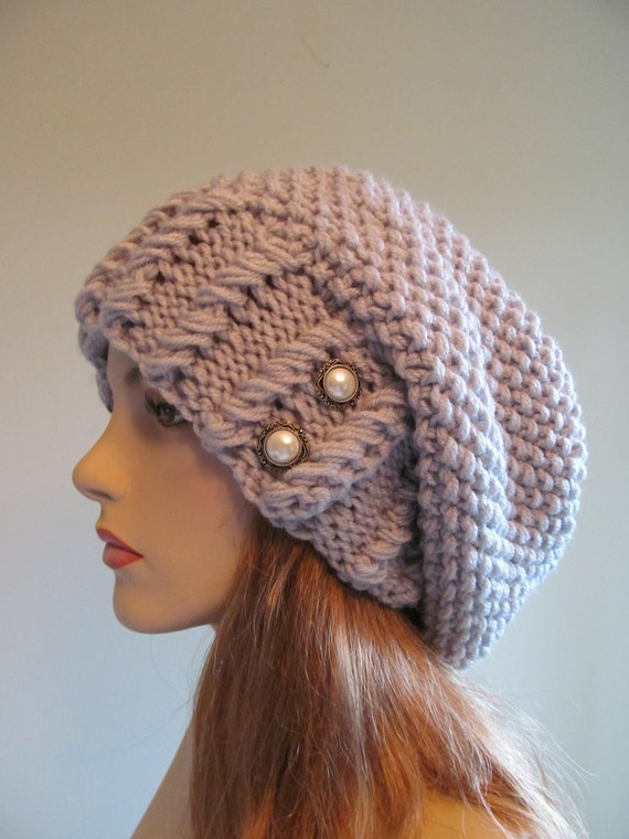 Sale Slouchy Beanie Slouch Hats Baggy Beret Pearl By Lacywork