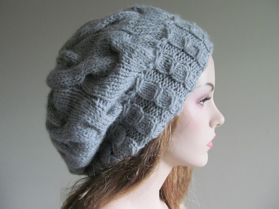 Grey Slouchy Hats Oversize Berets Baggy Beanie Gray color Wool Acrylic Ladies Slouch