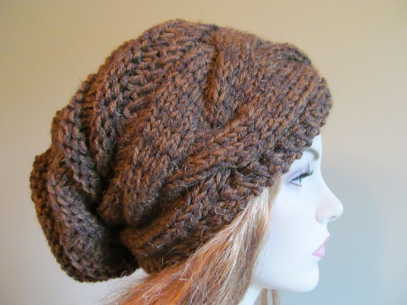 Slouchy Beanie Slouch Hats Oversized Baggy cabled hat  womens fall winter accessory Brown  Hand Made Knit