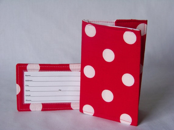Travel set - Passport cover and luggage tag - red and white polka dot