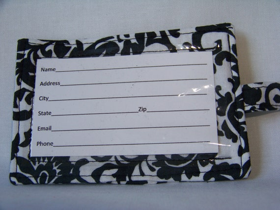 2 Luggage tags - black and white damask
