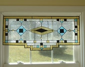"""Tiffany Styled Stained Glass Window Suncather Panel Valance Curtain 32""""x 14.5"""""""