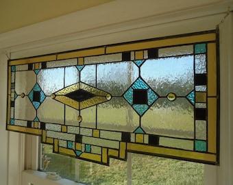"Tiffany Styled Stained Glass Window Suncatcher Panel Valance Curtain 27""x13"""
